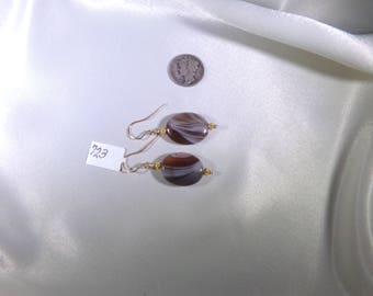Brown agate striped vermeil and gold filled earrings gemstone handmade  item 723