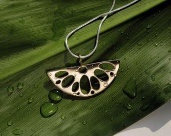 Gold Nature Necklace Long Lotus Necklace Zen Necklace Lotus Jewelry
