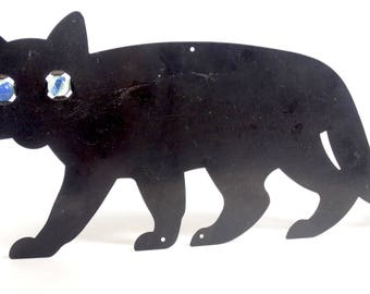 Black Metal Cat with Marble Eyes - Scaredy Cat Halloween Rustic Primitive Garden Art