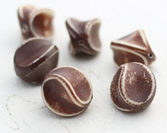Vintage Pinched Fluted Acrylic Beads - Chocolate Brown - 24mm - 6 beads