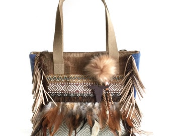 Tote bag western style, Navajo bag with feathers, one of a kind handbag brown, fringed purse brown, unique gift for woman, Catena bags shop