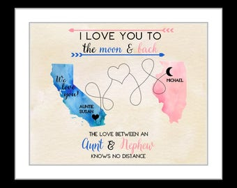 Birthday gift for aunt, christmas gift for aunt from nephew, long distance family 2 state map art prints quotes aunt nephew 1 xmas present