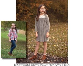 Girls Catherine Top, Tunic & Dress PDF Sewing Pattern instant download Sizes 1/2-14