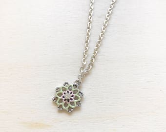 Sterling silver charm necklace, pastel enamel charm, Layering necklace