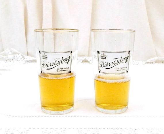 2 Vintage Tuborg Beer Glasses with Gold Rim 25 cl from France, Pair Retro Danish Beer Glass, Biere Tuborg Copenhagen Denmark, Brewania