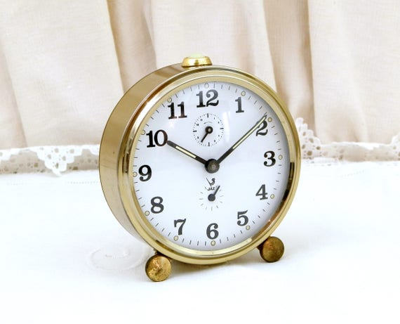 Vintage Mid Century Working Mechanical Wind-Up Alarm Clock by Jaz, Bedside French Clock, 1950 Retro Timepiece from France