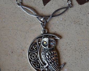 Magical owl and moon necklace, celtic crescent moon necklace crystal eyes owl necklace, celtic knot moon jewelry, celtic owl necklace