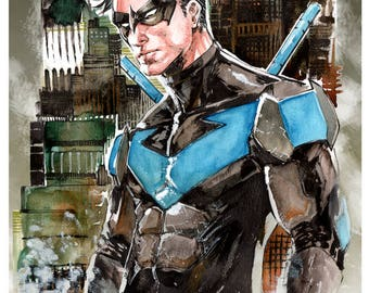 Nightwing Watercolor by Hanzozuken