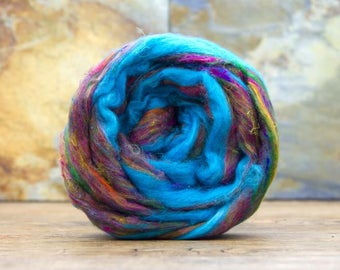 50 gm SARI SILK ROVING - a very pretty mix of blue, brown + For Spinning, Weaving, Felting, and even Knitting & Crochet