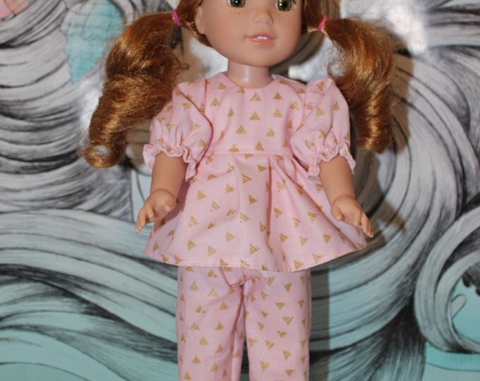 14.5 Doll Pajamas, Triangle Print Top, Pants and Slippers,Handmade to fit the likes of Wellie Wishers/Heart to Heart Dolls, FREE SHIPPING