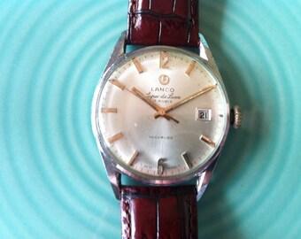 Lanco Langendorf, Free Shipping, Super DeLuxe, 17 Jewels Swiss, Calendar, 1950s, Mid Century Modern, Working Great, Vintage Men's Watch