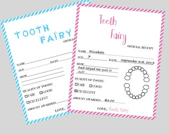 Tooth Fairy Receipt PRINTABLE -  Tooth Fairy Certificate - Lost Tooth - Tooth Fairy Letter for Boys or Girls - Instant Download