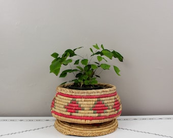Colorful Grass Woven Lidded Basket- Large