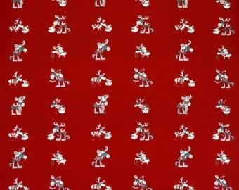 Christmas tablecloth red grey fun Christmas deer Noel  Modern Scandinavian Design , runner , napkins , pillow , curtains , great GIFT
