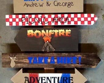 Custom Camping Directional Sign Hand Painted