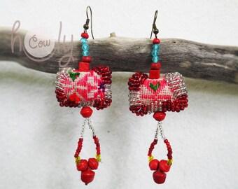Handmade Pink Tribal Boho Chic Hippie Earrings, Tribal Earrings, Hippie Earrings, Boho Earrings, Colorful Earrings, Gypsy Earrings, Hippie