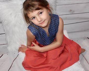 Size 5 Polka Dot Coral Pink Twirl Dress / Little Girl Dress / Back to School