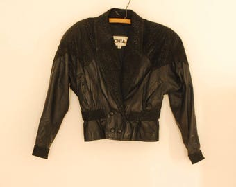 Black Leather and Suede Jacket - 1980s