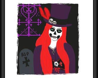 Maman Brigitte, Art, Print,  Original ,Lwa, Orisha, Haitian Vodou, Voodoo, Conjure, Altar, Wiccan, Pagan, Hoodoo
