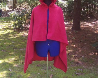 Red Hooded Cape - Fleece Hooded Cloak - Little Red Riding Hood Costume - Red Halloween Cape - Medieval Cloak - Red Pixie Hoodie Cape