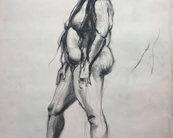 Charcoal Drawing of A Woman Standing, One of A Kind