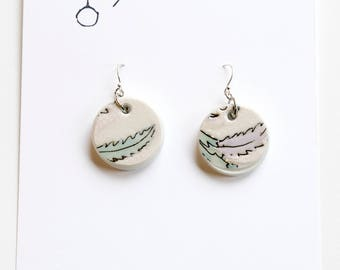 Porcelain leaf earrings, china ceramic and sterling silver wire