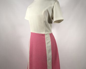 1960s Pink and White Day Dress Vintage Polyester Day Dress Pink and White Short Sleeves Vintage Secretary Dress 1960s Women's Fashion