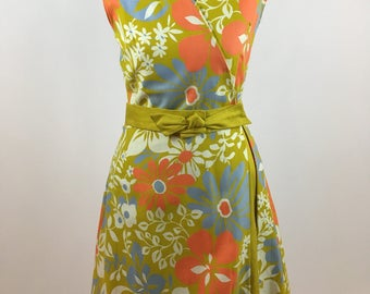 1960s Scooter Dress Retro Mod Floral Scooter Chartreuse Periwinkle Tangerine White Wrap Around Scooter Dress Vintage Sears Women's Fashion