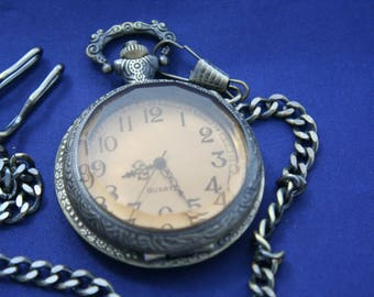 Free Shipping! Quartz Pocket Watch or Necklace  •  Clear Amber Case Front  •  Working and Ready for Use