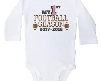 Girls Football Onesie, My First Football Season, Football Baby Outfit, Newborn Football Bodysuit, Boys Football Outfit, Baby Football Onesie
