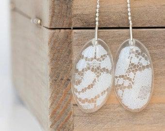 Wedding lace earrings - Wedding lace jewelry - Bridal jewelry - Rustic weddings jewelry - Vintage earrings - Wedding memory gift