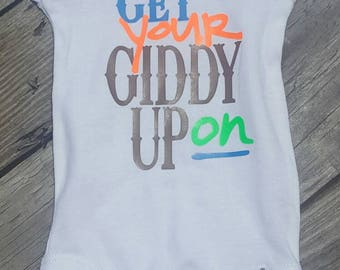 Get your giddy up on baby boy rodeo onesie