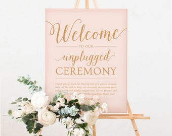 Unplugged Wedding Sign Printable // Editable Unplugged Ceremony Sign Download // Caramel Gold and Pink Wedding Decor