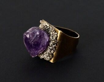 Pyrite Ring, Large Crystal Statement Ring