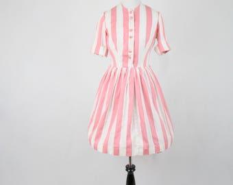 1960s Pink and White Striped Shirtwaist Dress