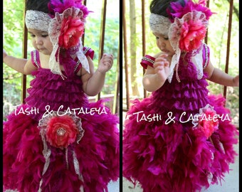 plum lace feather dress matching flower headband pageant holiday vintage birthday photo prop baby girl wedding toddler tutu wedding toddler