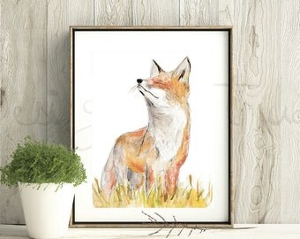 Fox Art Print, Fox Framed Wall Art, Fox watercolour Painting