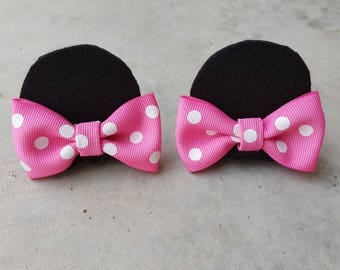 Mouse Ear Hair Clips // Mouse ears with bows // Bowtique // Pink Polka Dot Bow Mouse Ear Hair Clips //