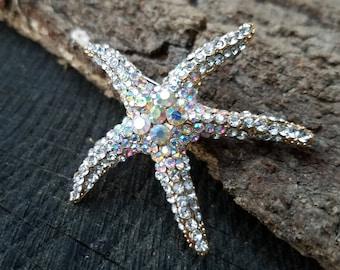 Rhinestone Starfish Gold Tone AB Rhinestone Flatback Embellishment or Brooch Pin Clear Crystal Starfish Broach Aurora Borealis DIY GAB1