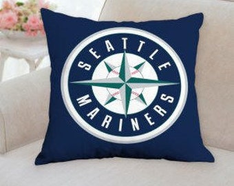 """SALE...Save 5.00 dollars on the Seattle Mariners Baseball Pillow 14""""x14"""" (2)"""