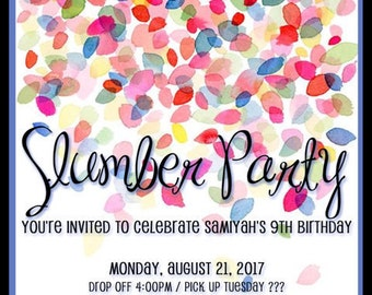 Slumber Party Invitation / Hotel Sleepover - custom or digital versions available