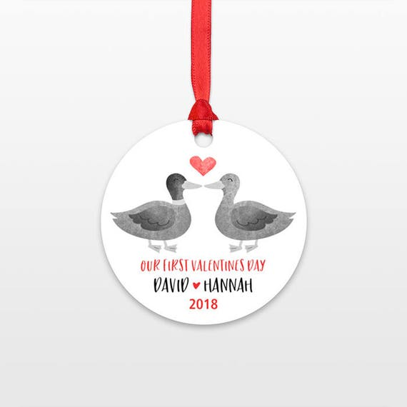 Duck Couple 1st First Valentines Day Ornament Personalized Valentines Day Gift for Her for Him Decor Married Engaged Engagement Wedding