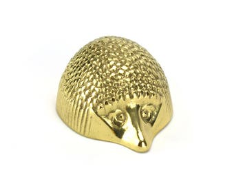 Vintage Brass Hedgehog Figurine - Virginia Metal Crafters Mid Century Hollywood Regency - Woodlands Nursery Decor - Unique Christmas Gift