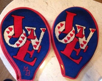 Vintage  LOVE Tennis Racquet Covers Needlepoint Love design Red White Blue hearts