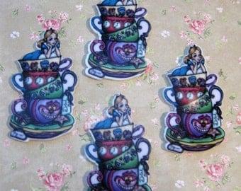 NEW! Alice In Wonderland - Teacup Stack - Flatback Resin Embellishment (4pcs)  C225/C226