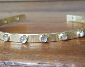 Moonstone cuff bracelet-14k gold cuff bracelet- moonstone bracelet- cuff bracelet-multiple stone cuff bracelet