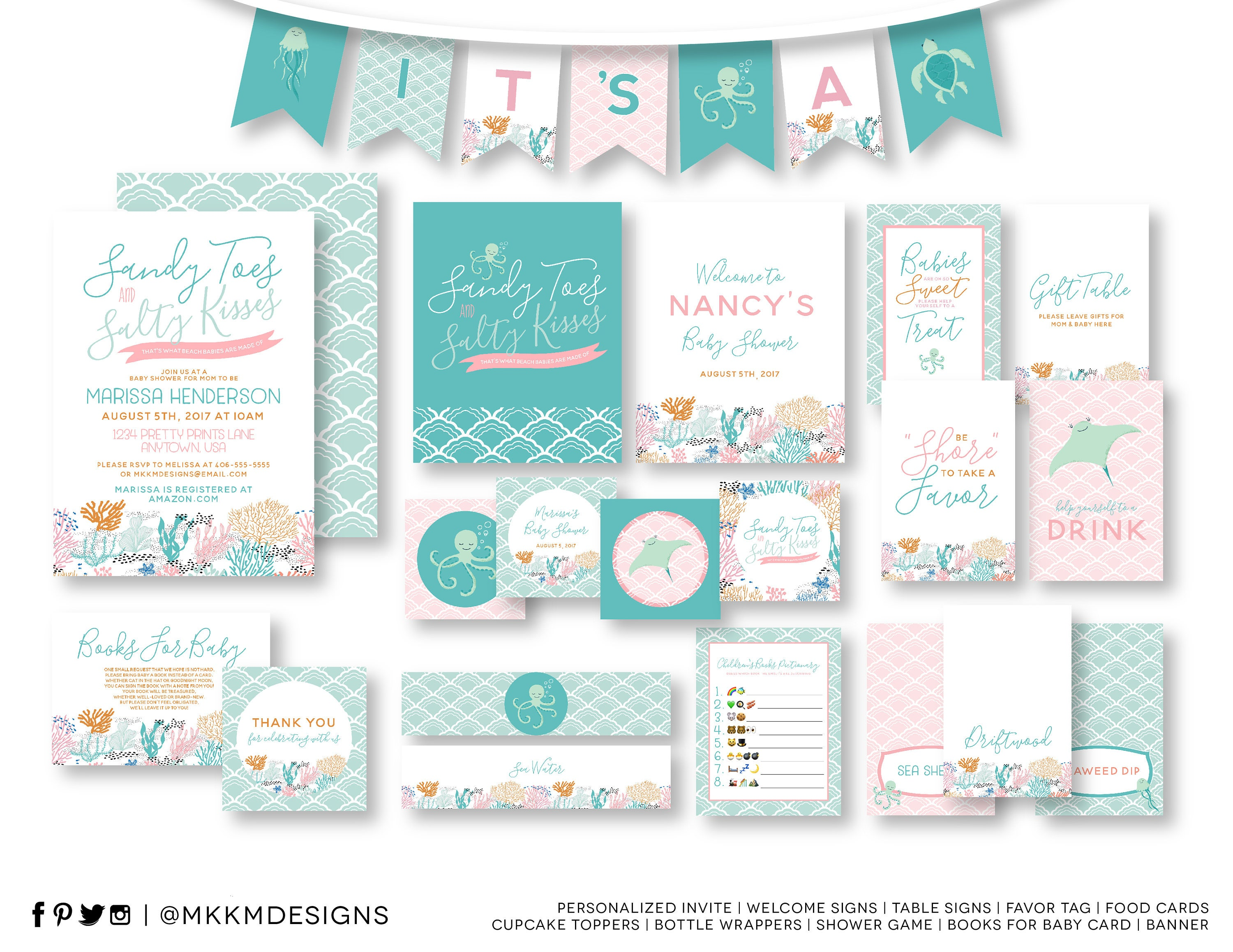 Beach Baby Shower Kit, Baby Shower Invite, Beach Invitation, Ocean ...