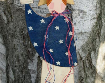 Primitive Lady Liberty - 4th of July Wood Shelf Sitter Decoration