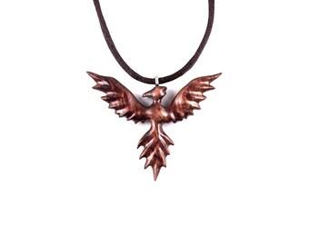 Phoenix Necklace, Phoenix Pendant, Phoenix Jewelry, Firebird Pendant, Wood Phoenix Rising Necklace Pendant, Firebird Necklace, Wood Jewelry