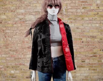 qipao asian 90s cheongsam jacket / reversible jacket / mandarin collar / 90s grunge / asian influenced / qipao jacket / satin cheongsam